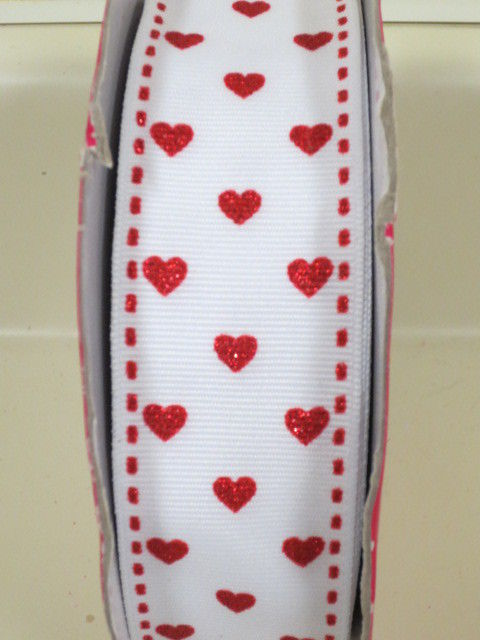 Super Cute Kirkland Glitter Hearts Grosgrain Ribbon Wire Edge 1.5