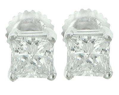 2.12 Ct Princess Cut Diamond Stud Earrings White Gold
