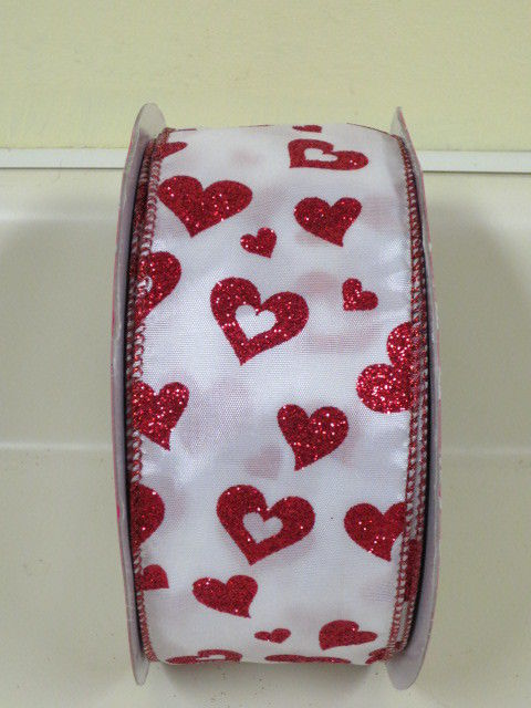 Super Cute Kirkland Glitter Hearts Ribbon Wire Edge 2.5