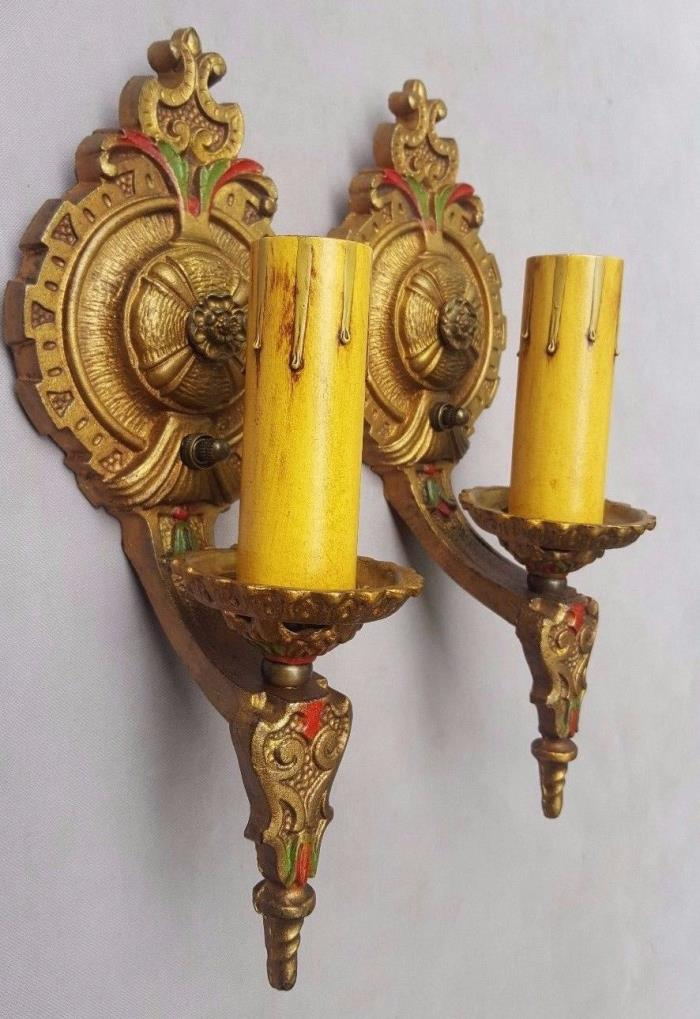 Art Deco Sconces, Cast Iron, Signed LAPCO, Rewired, New Switches & Candle Covers