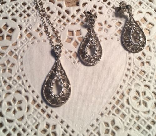 Genuine Diamond Necklace And Dangle Earrings Sterling Silver Set