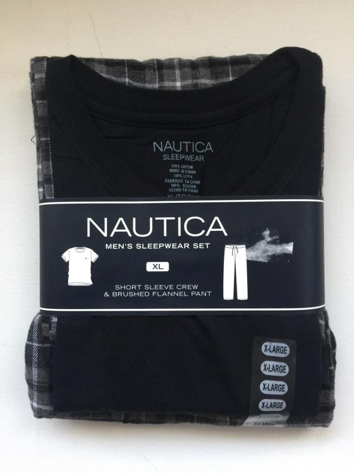 NAUTICA Mens 2-pc Flannel Sleep Set Short Sleeve Crew Neck T Flannel Pant SZ XL