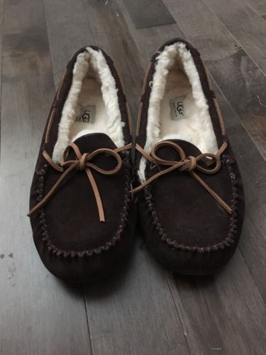 Men's Ugg Dakota Brown Slippers Mocassins Moccasins Wool Sheepskin 10