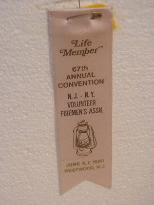 1980  NJ-NY Fire Fighter-- Convention Ribbon -Westwood -NJ