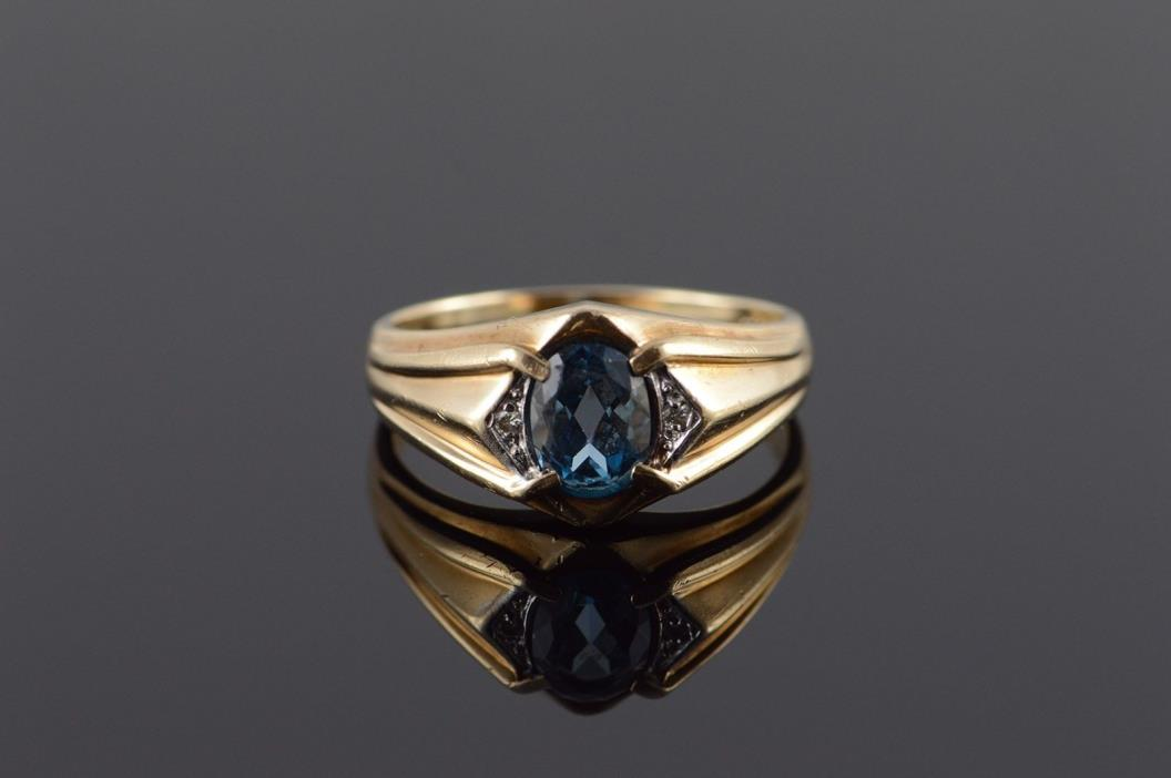 10K 1.03 CTW Blue Topaz Diamond Inset Fancy Men's Ring Size 11 Yellow Gold