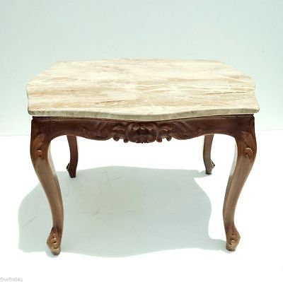 Marble Top Wood Carved Egyptian Baroque Side End Table  25