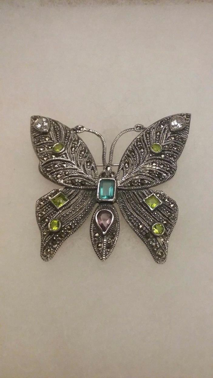 BEAUTIFUL VINTAGE STERLING SILVER MULTI GEMSTONE AND MARCASITE BUTTERFLY BROOCH