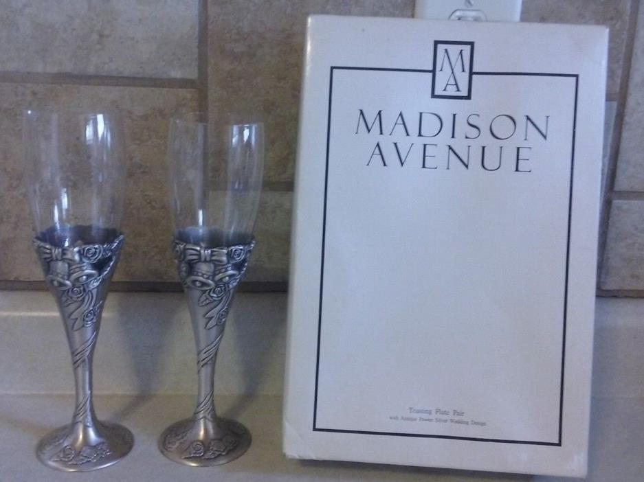 Madison Avenue Pewter Silver Wedding Toasting Champagne Flutes 2 BEAUTIFUL