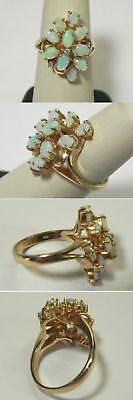 C751 Vintage 14K Solid Yellow Gold Opal & Diamond Cluster Cocktail Ring, Size 7