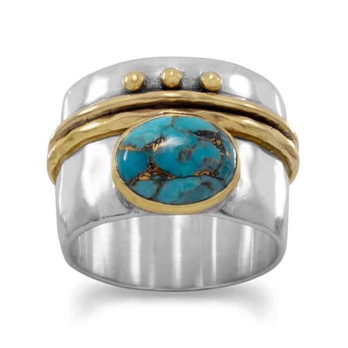 Sterling Silver Thick Band w/ 14 KT Yellow Gold Plated & Turquoise Ring SZs -10