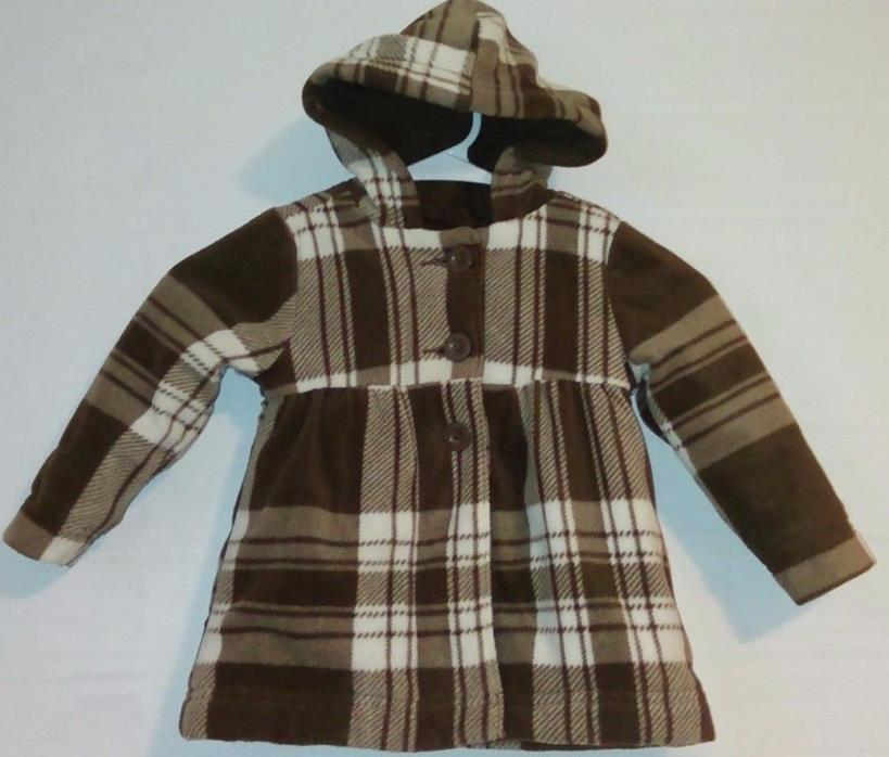 OLD NAVY Girl's 2T Brown/White Plaid Hooded Lined Coat Warm Thick PRETTY  *Q
