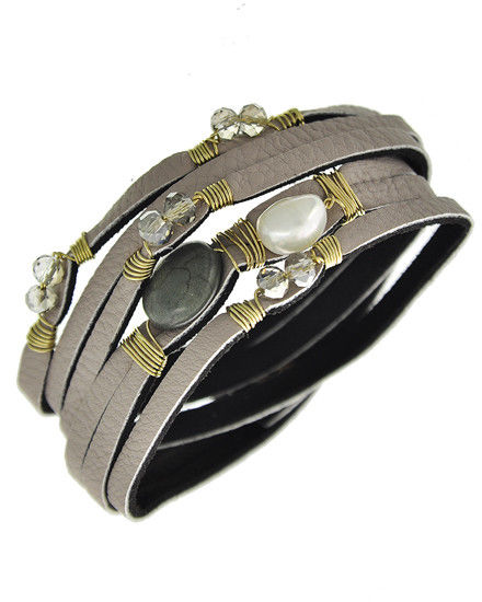 Gray Leatherette Multiple Bands w/ Gold Tone Wire, Turquoise & Pearl Accents