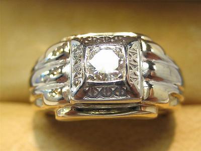 14KT SOLID GOLD .45 CARAT VS F-G GENUINE DIAMOND MEN'S RING VERY NICE DESIGN!