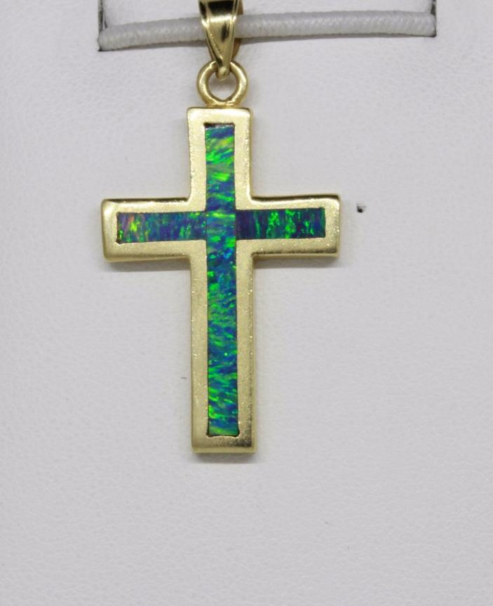 14k Yellow Gold With Man Made Opal Inlay Cross Pendant