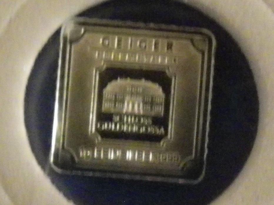 1 gram Geiger  Silver Bar .999