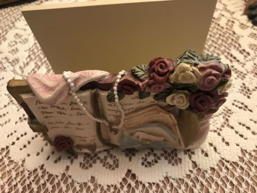 Victorian Rose Letter Holder by Figi Excellent condition roses pearls open book