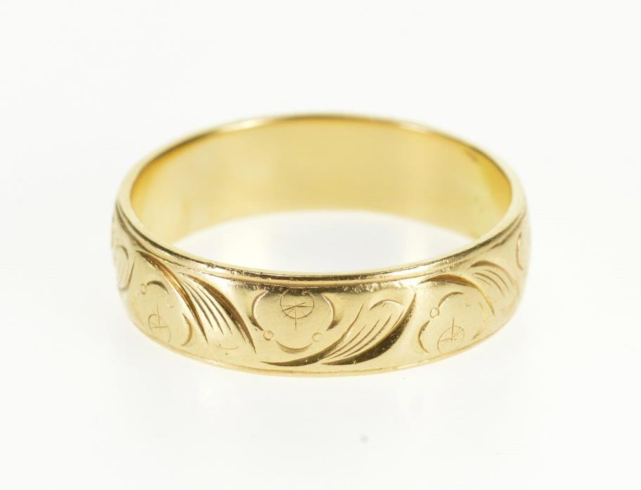 14K Ornate Scroll Patterned Men's Wedding Band Ring Size 10.5 Yellow Gold *06