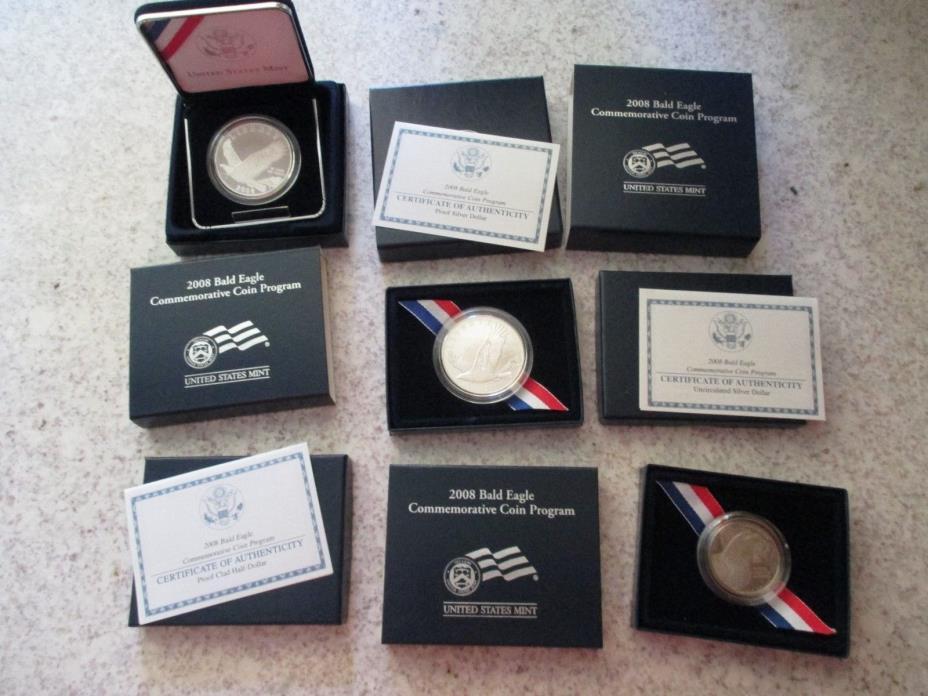 2008 US Mint Bald Eagle Silver Dollar 3 Coin Set - Proof & BU Dollar, Proof Half