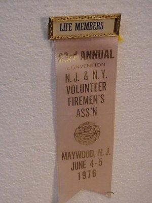 1976- NJ-NY Fire Fighter-- Convention Ribbon--Maywood  NJ
