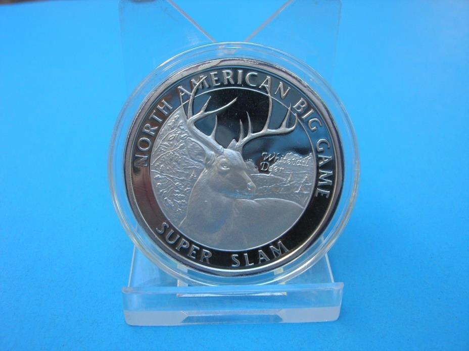 Vintage 1oz .999 Silver Round North American Big Game Super Slam Whitetail Deer
