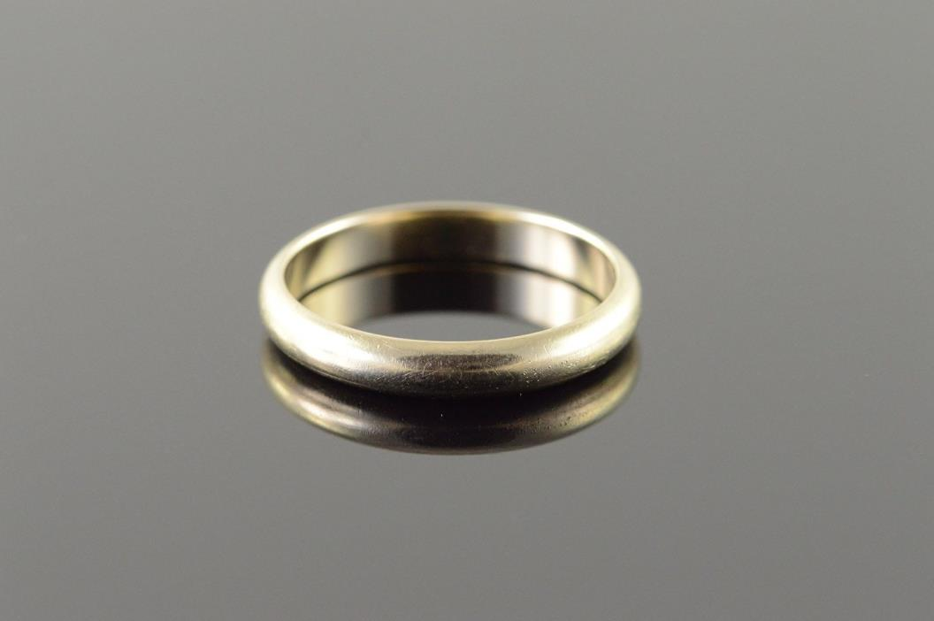 14K 3.8mm Rounded Plain Wedding Band Men's Ring Size 11 White Gold