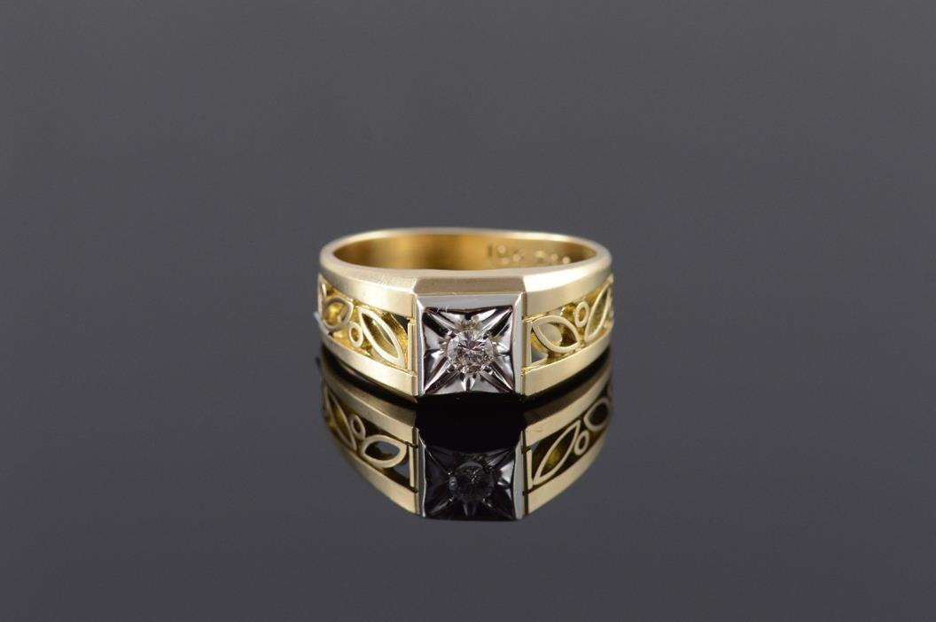 10K 0.15 CT Round Diamond Scroll Filigree Cut Out Band Men's Ring Yellow Gold