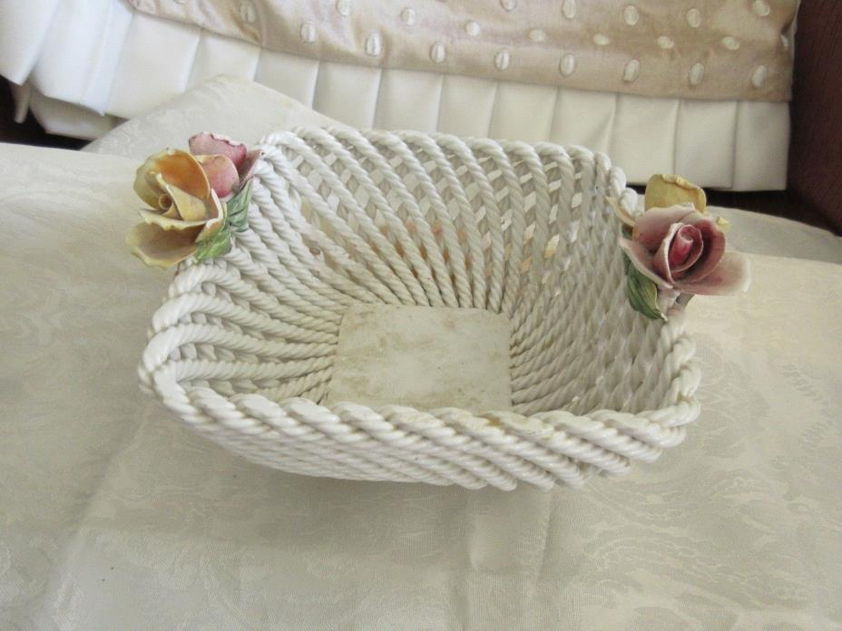 Vintage Capodimonte Woven Ceramic WHITE ROSE BASKET CANDY DISH OR ?  SALE