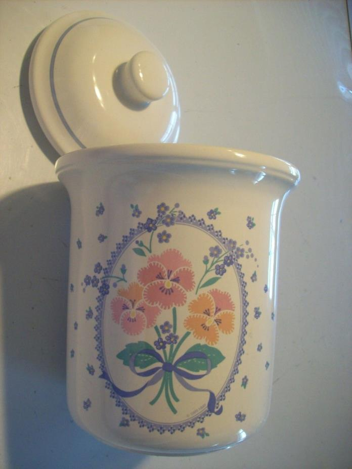 Treasure Craft Auntie Em Collection Pansy Sugar Flour Canister Hallmark @ cLOSeT