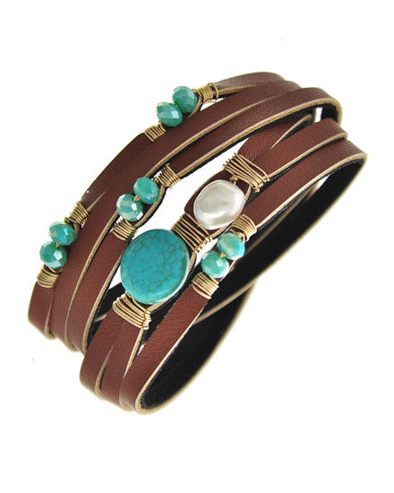 Brown Leatherette Multiple Bands w/ Gold Tone Wire, Turquoise & Pearl Accents
