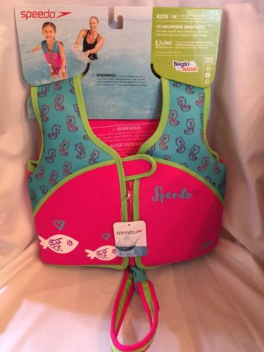 Speedo Youth Girl Neoprene Life Jacket Vest Water Safety Pink & Aqua 33-45 lbs.
