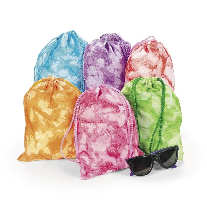 12 Tie-dyed Drawstring Tote Bags