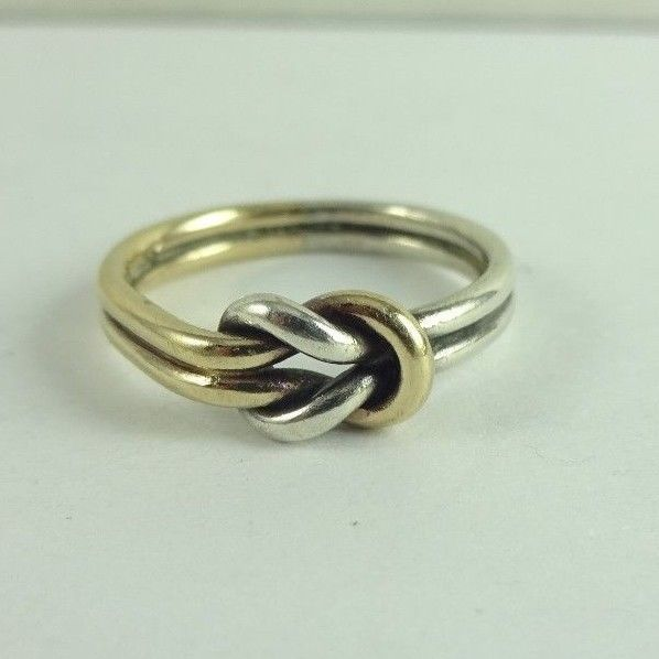 Sterling Silver & 14K Gold James Avery Lovers Knot Ring Size 5.5 Retired RARE!