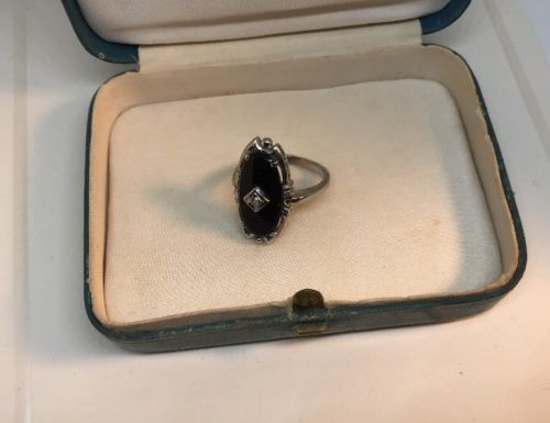 Vintage Diamond Onyx 10K White Gold Ring With Filigree