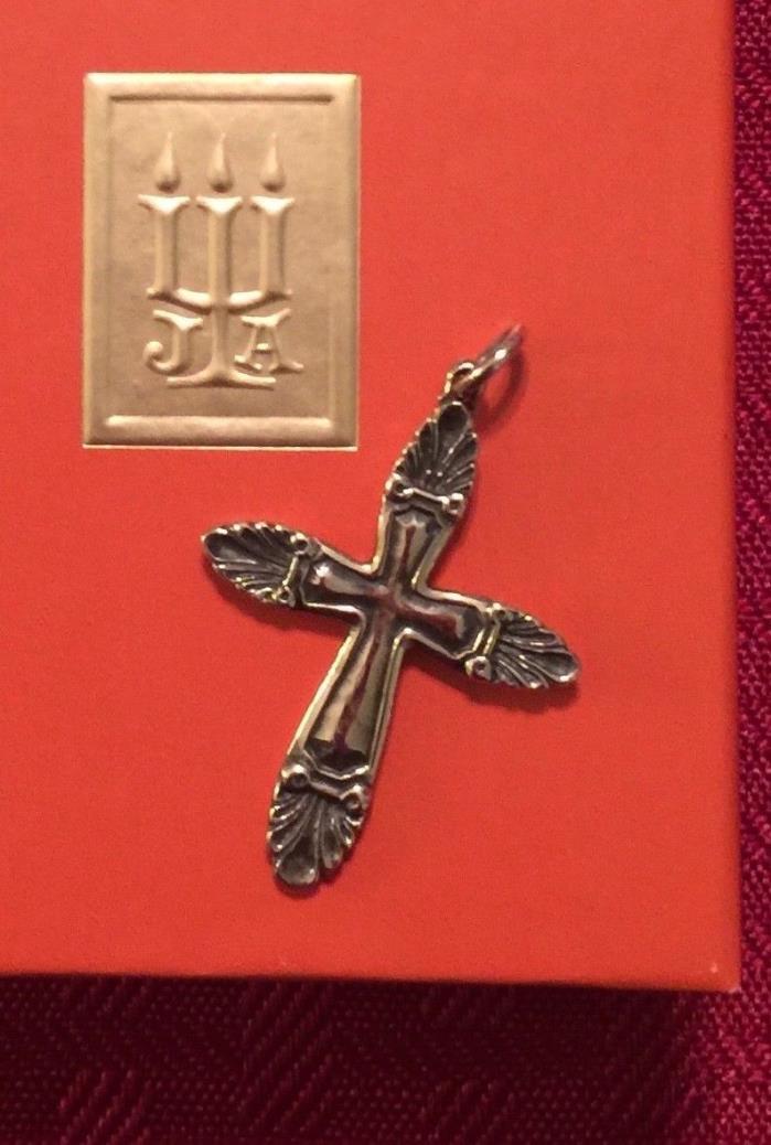JAMES AVERY Retired Sterling Silver Ornate Shell Cross Pendant Charm RARE