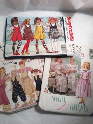 3 Vtg McCalls Butterick Uncut Sewing Patterns Girls 7- 8-10 Jumper Dress Romper