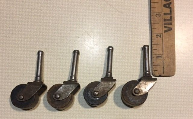 Lot of 4 Antique Wooden Wheels Casters for Table, Chair or Dresser