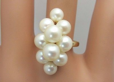 Vintage 14K Yellow Gold And Pearl Cluster Ring Mings
