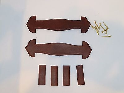 Set of Antique Toy Doll Trunk Leather Handles & Holders by HMS Antique Trunks