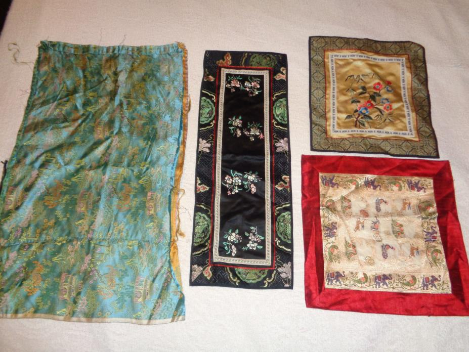 Lot of 4 Vntg Chinese Asian Silk Birds Floral Embroidery Oriental Squares Panels