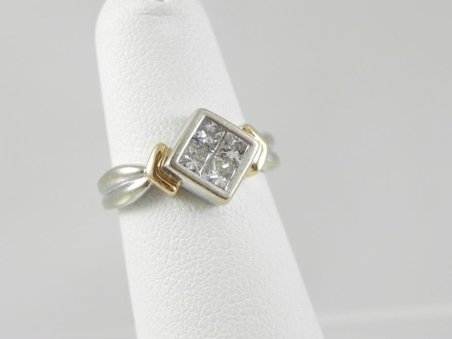 Designer 14K White / Yellow Diamond Ring with Square / Princess Diamonds - SZ 4