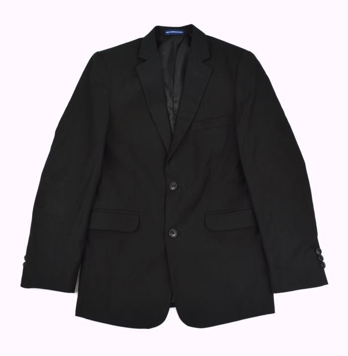 CHAPS Boy's Handsome Black 2-Btn Wool Blend, Fully Lined Blazer Jacket ~ Sz 14R