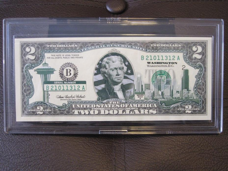 Washington State $2 Two Dollar Bill Colorized State Landmark Uncirculated 2003-A