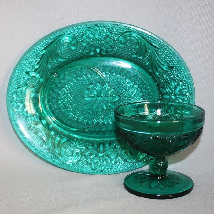1-8 Vtg SANDWICH GLASS TEAL SNACK SET(s) Oval Plate & Compote / Sherbert Miller