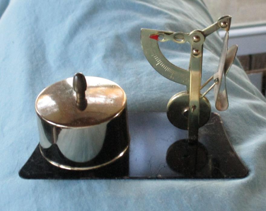 VINTAGE BRASS POSTAGE STAMP HOLDER SCALE PLUS STAMPHOLDER &  black jewel dispens