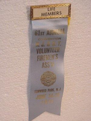 1974  NJ-NY Fire Fighter-- Convention Ribbon---Elmwood Park NJ