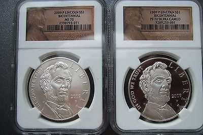 2009 Pair of LINCOLN Silver Dollars PF70 & MS70 Graded NGC