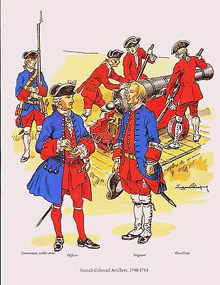 Vintage Print Revolutionary War Era Military Uniforms French Colonial Artillery