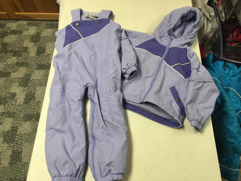 COLUMBIA FLEECE LINED  SNOWSUIT  WINTER COAT & SNOW PANTS  PURPLE  GIRLS  4T  4