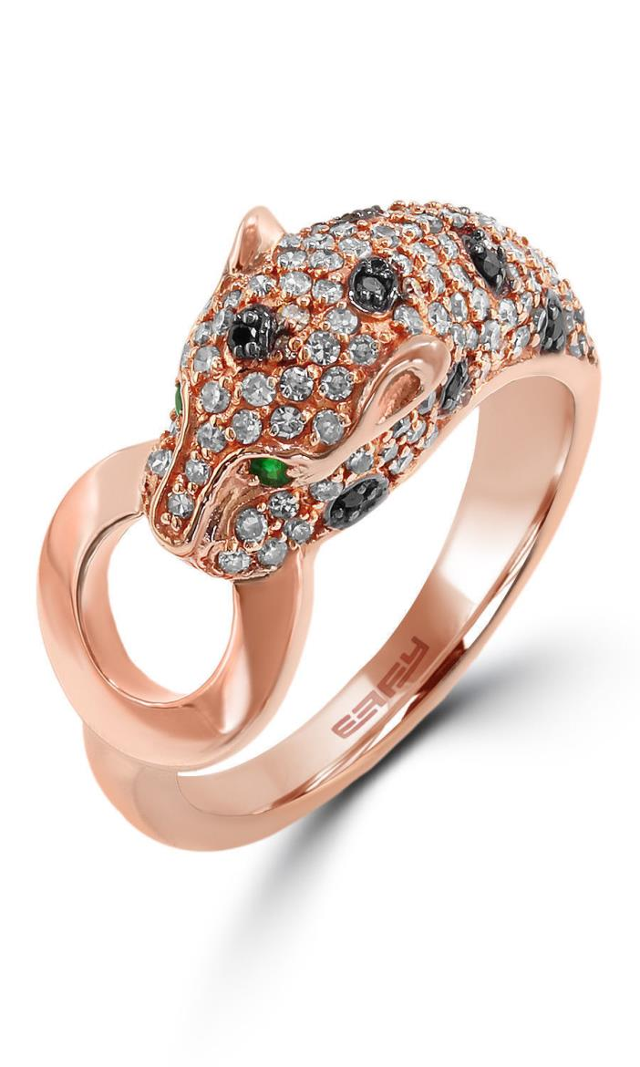 EFFY Signature  Panther White & Black Diamond & Emerald 14K Rose Gold Ring - NIB