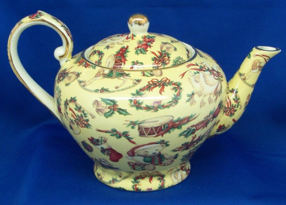 Unique Christmas Chintz Teapot